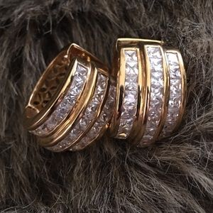 Jewelry - Gold plated square cut cz latch style hoop earring